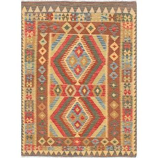 ecarpetgallery Flatweave Istanbul Yama Kilim Red, Yellow  Wool Kilim (4'10 x 6'6)