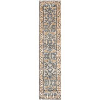 eCarpetGallery Royal Ushak Blue/Ivory Wool Hand-knotted Runner Rug (2'5 x 20')