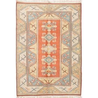 eCarpetGallery Ushak Brown Wool Hand-knotted Rug - 6'7 x 9'4