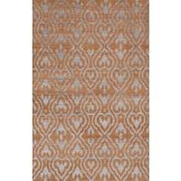 eCarpetGallery La Seda Orange Wool and Art Silk Hand-knotted Rug - 5'1 x 7'11