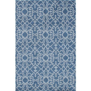 eCarpetGallery Eternity Blue Wool Hand-knotted Rug (5'0 x 7'9)