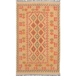 ecarpetgallery Flatweave Anatolian Kilim Brown, Yellow Wool Kilim Rug - 4'11 x 8'2