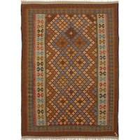 eCarpetGallery Anatolian Brown/Red Wool Flatweave Kilim Rug - 6'8 x 9'4