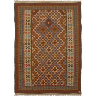 eCarpetGallery Anatolian Brown/Red Wool Flatweave Kilim Rug (6'8 x 9'4)