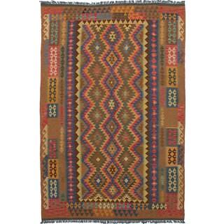 eCarpetGallery Flatweave Anatolian Kilim Brown/Red Wool Kilim Area Rug(6'7 x 10'0)
