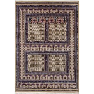 eCarpetGallery Hand-knotted Peshawar Bokhara Green Wool Rug - 6'3x8'10