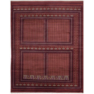 eCarpetGallery Peshawar Bokhara Red Wool Hand-knotted Rug (9'4x11'11)