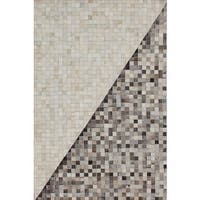 ecarpetgallery Handmade Cowhide Patchwork Grey, Ivory Leather Rug - 4'0 x 6'0