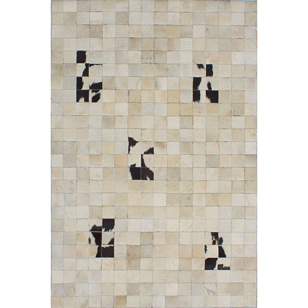 ecarpetgallery Handmade Cowhide Patchwork Ivory Leather Rug