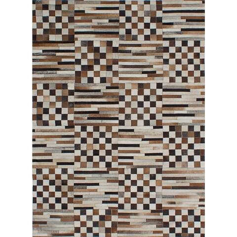 ecarpetgallery Handmade Cowhide Patchwork Brown, Ivory Leather Rug - 4'8 x 6'5