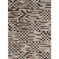 ecarpetgallery Handmade Cowhide Patchwork Brown, Ivory Leather Rug - 4'8 x 6'5