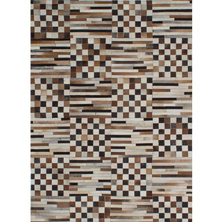 ecarpetgallery Handmade Cowhide Patchwork Brown, Ivory Leather Rug (4'8 x 6'5)