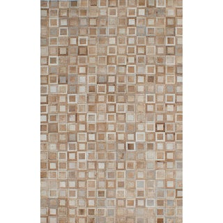 eCarpetGallery Cowhide Patchwork Brown/ Ivory Leather Handmade Rug (4'11x7'9)