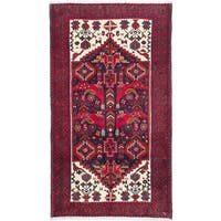 ecarpetgallery Hand-Knotted Finest Baluch Black, Red  Wool Rug (3'5 x 6'0)