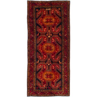 eCarpetGallery Ardabil Red/ Blue Wool Hand-knotted Rug (4'3x9'8)