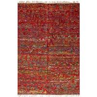eCarpetGallery Red Sari Silk Hand-knotted Rug - 5'1x7'9