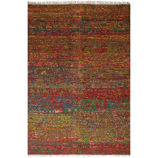 eCarpetGallery Red Sari Silk Hand-knotted Rug (6'1x9'3)