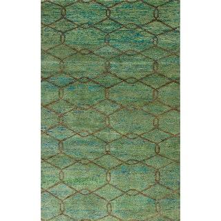 ecarpetgallery Hand-Knotted Sari Silk Green Sari Silk Rug (4'11 x 7'9)