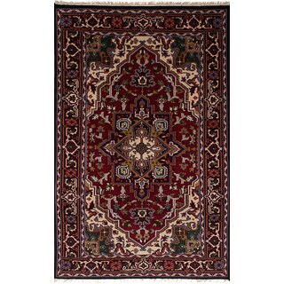 ecarpetgallery Hand-Knotted Royal Heriz Red Wool Rug (4'11 x 8'0)