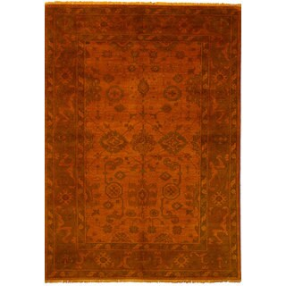 eCarpetGallery Color Transition Orange Wool Hand-knotted Rug - 6'1x8'10