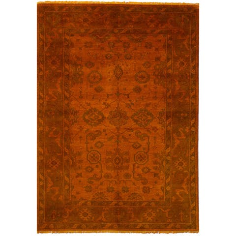 Hand-knotted Color transition Orange Wool Rug