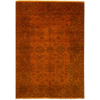 eCarpetGallery Color Transition Orange Wool Hand-knotted Rug (6'1x8'10)