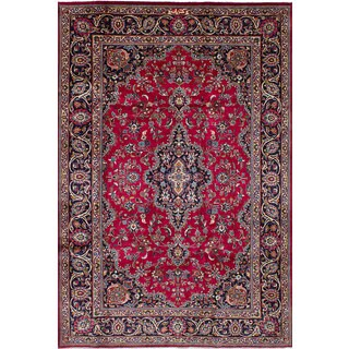 eCarpetGallery Mashad Red Wool Hand-knotted Rug (6'9 x 10'4)