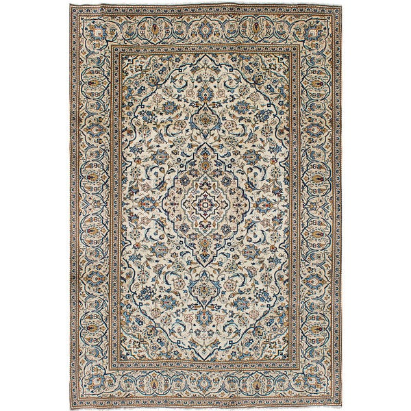 Shop Ecarpetgallery Hand Knotted Persian Kashan Red Wool: Shop ECarpetGallery Kashan Ivory Wool Hand-knotted Rug