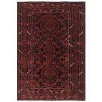 ecarpetgallery Hand-Knotted Royal Baluch Black, Brown  Wool Rug (4'0 x 6'2)