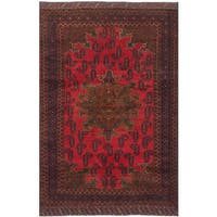 ecarpetgallery Hand-Knotted Rizbaft Red  Wool Rug (4'0 x 6'6)