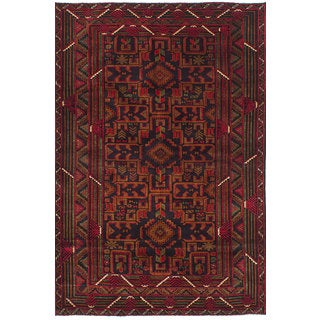 ecarpetgallery Hand-Knotted Rizbaft Black, Red  Wool Rug (3'11 x 6'2)