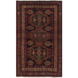 ecarpetgallery Hand-Knotted Royal Baluch Black, Red  Wool Rug (3'7 x 6'7)