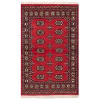 ecarpetgallery Hand-Knotted Peshawar Bokhara Red  Wool Rug (3'2 x 5'5)