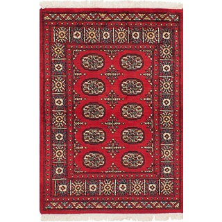 eCarpetGallery Hand-knotted Peshawar Bokhara Red Wool Rug (2'8 x 4'1)