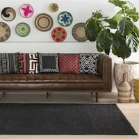 Colonial Home Black Contemporary Solid Kilim Area Rug (4' x 6')