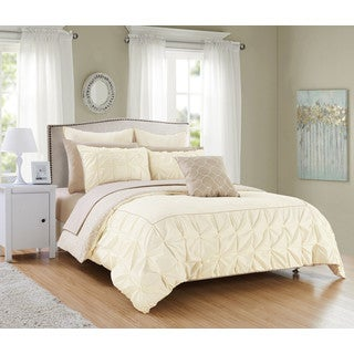 Chic Home 10-Piece Rajiv Beige Bed in a Bag Reversible Comforter Set