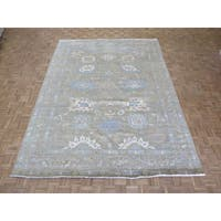 Sultanabad Oushak Camel Wool Hand-knotted Oriental Rug - 9'1 x 12'2