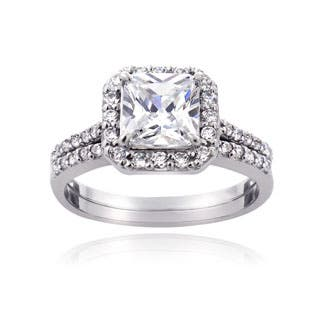Sterling Silver Cubic Zirconia Princess Halo Bridal Engagement Rings