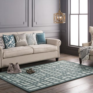 Colonial Home Teal Contemporary Geometric Handmade Area Rug - 3' x 5'