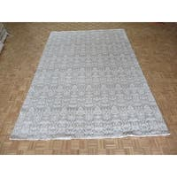 William Morris Oushak Grey Wool Hand-knotted Oriental Rug - 9'7 x 13'11