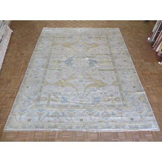 Ivory Wool Hand-knotted Oushak Oriental Rug (11'7 x 14'10)