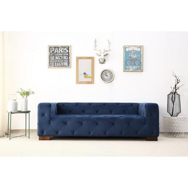 Shop Modern Button Tufted Chesterfield Dylan Velvet Sofa On Sale