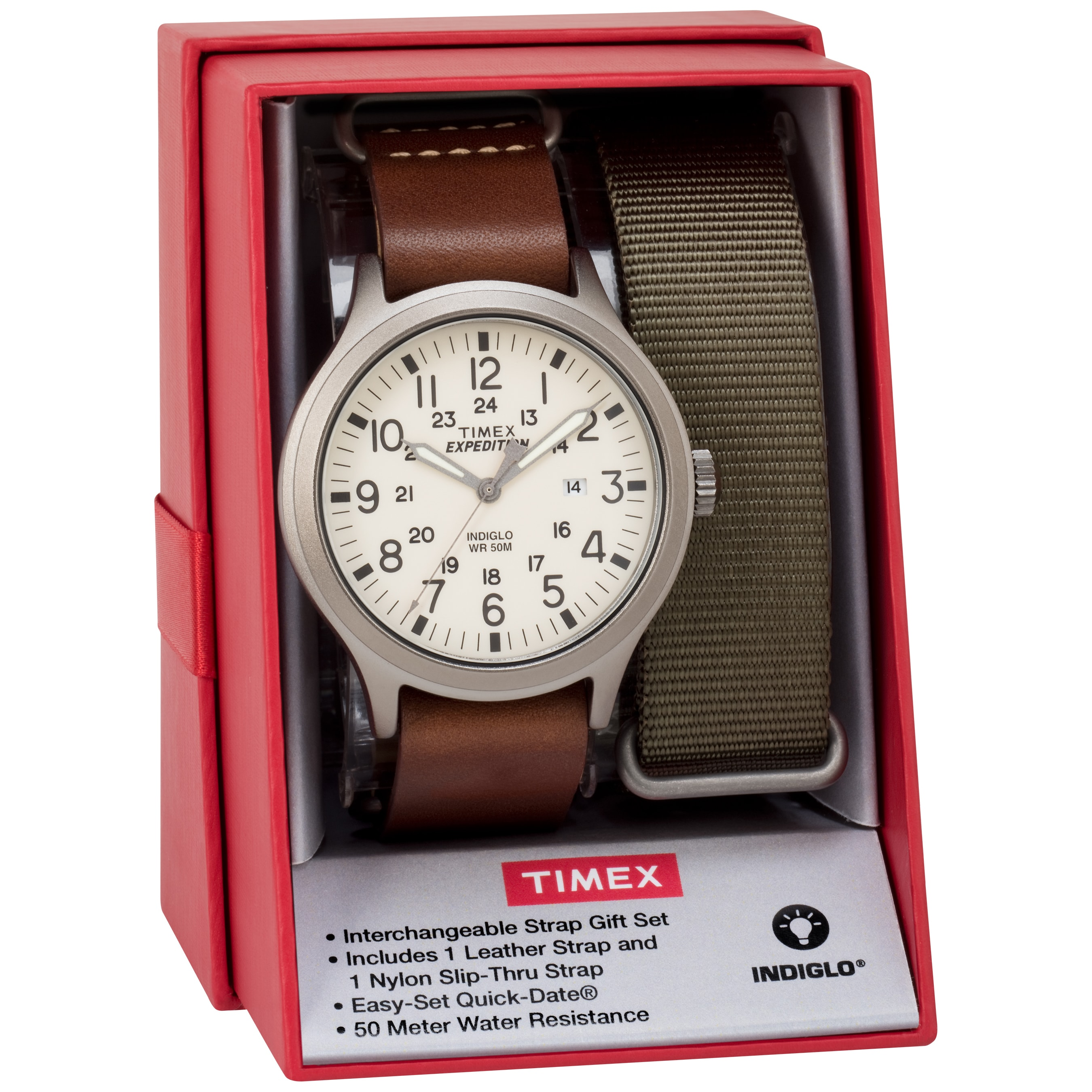 48675d25e Shop Timex Men's TWG016100 Expedition Scout 43 Brown Leather Slip-Thru  Strap Watch Gift Set + Olive Nylon Strap - Free Shipping Today - Overstock  - 16765927