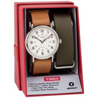 Timex Men's TWG015100 Weekender 40 Tan Leather Slip-Thru Strap Watch Gift Set + Olive Nylon Strap