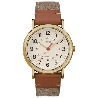 Timex Unisex TW2R42100 Weekender Tan/Brown/Cream Fabric/Leather Strap Watch