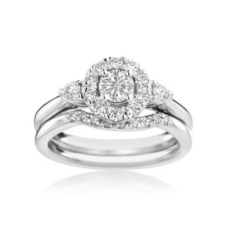 SummerRose 14k white gold 3/4ct TDW Diamond Halo Engagment Ring and Countored Wedding Band Set