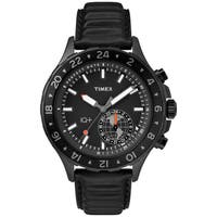 Timex Men's TW2R39900 IQ+ Move Multi Time Black Leather Strap Watch