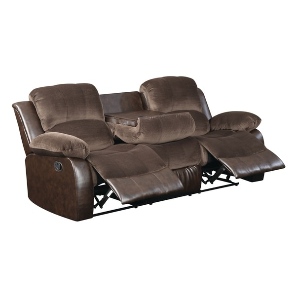 Lyke Home Carter Contemporary Plush Suede Reclining Sofa
