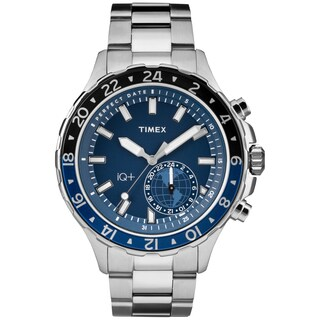Timex Men's TW2R39700 IQ+ Move Multi Time Silver-Tone/Blue Stainless Steel Bracelet Watch