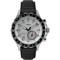 Timex Men's TW2R39500 IQ+ Move Multi Time Black/White Leather Strap Watch